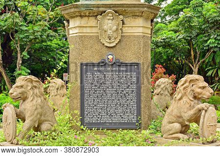 Manila, Ph - June 2 - University Of Santo Tomas Lion Animal Statue On June 2, 2018 In Manila, Philip