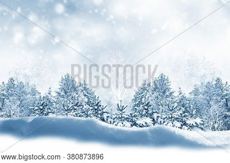 Abstract Greeting Card. Natural Christmas Background Sky.  Snowfall, Snowflakes,  Snowdrifts. Winter