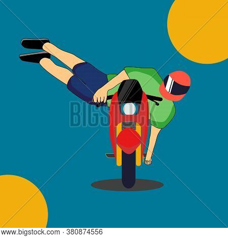 Motorcycle Stunt Riding. Moto Rider Making A Stunt On His Motorbike.cartoon Vector Illustration. Ext