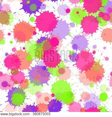 Paint Transparent Stains Vector Seamless Grunge Background. Funky Ink Splatter, Spray Blots, Dirty S