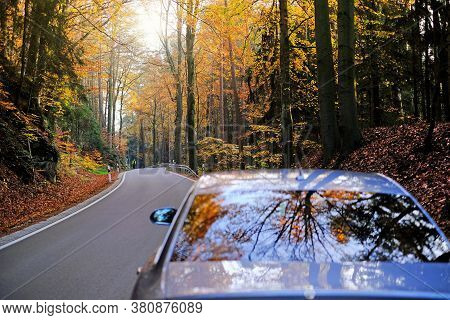 Autumn Travel And Trips.road View. Car On The Autumn Road.silver Color Car On The Road With Autumn B