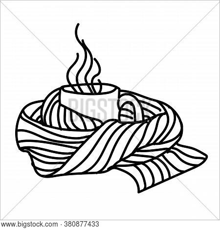 Autumn Line Art Composition. A Mug With A Warming Drink Wrapped Up In Scarf. Hello Autumn Concept. F