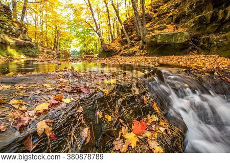 Skillet Creek with waterfall in Baraboo, Wisconsin during autumn