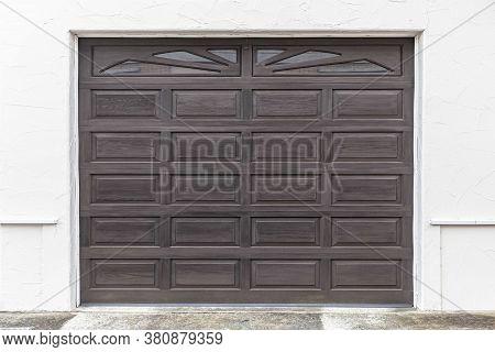 Brown Wooden Shutter Garage Door For Automatic Rolling Shutter