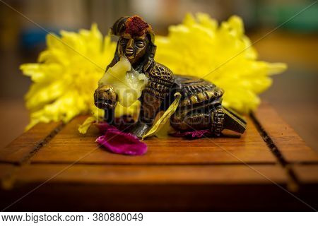 Young Lord Krishna With His Favorite Butter As Food. Hindu God Lord Krishna. Krishna Is Vishnu Avata