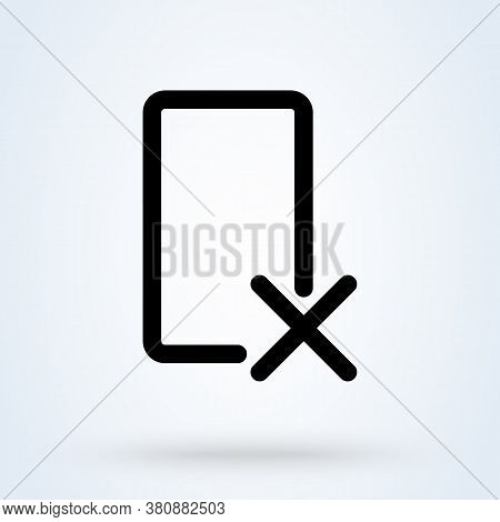 Delete Device Icon Or Logo Line Art Style. Rejected Web Access. Thin Line Rejected Access Vector Ill