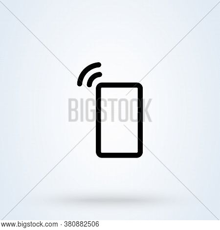 Device Ringing Icon Or Logo Line Art Style. Ringing Smartphone. Phone Vibrating Or Ringing Vector Il