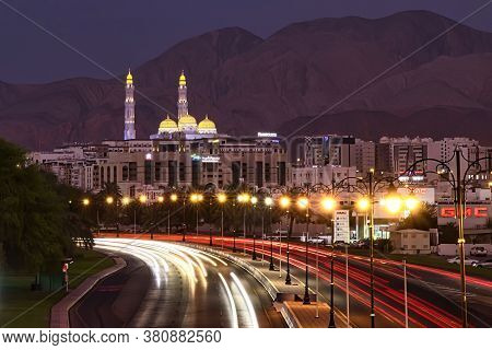Al Ameen Mosque, Oman. Circa April, 2020. Light Trails Of Moving Cars On The Street At Dusk. A Beaut