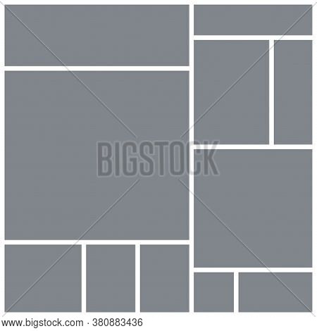 Photo Collage Grid. Square Mood Board Template. Vector. Moodboard Design. Mosaic Frame Banner. Gray