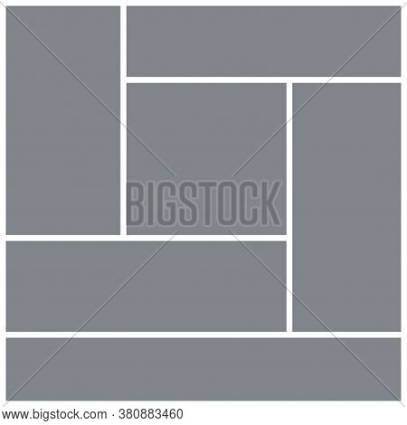 Photo Collage Template. Square Mood Board. Vector. Mosaic Frame Banner. Moodboard Background. Pictur