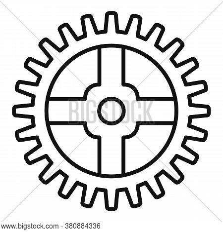 Watch Cog Wheel Piece Icon. Outline Watch Cog Wheel Piece Vector Icon For Web Design Isolated On Whi
