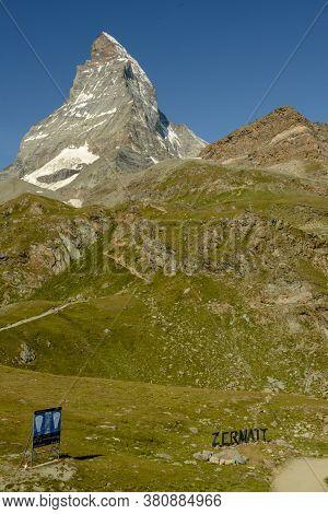 Mount Matterhorn Over Zermatt In The Swiss Alps