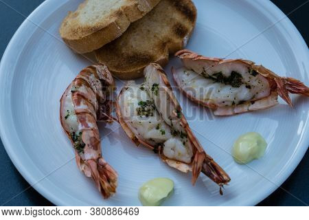 Black Tiger King Prawns With Oliveoil Herbs And Spices For Grilling