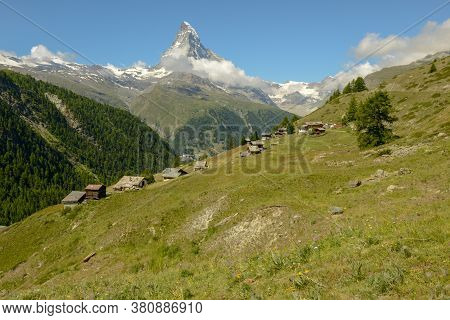Landscape With Mount Matterhorn Over Zermatt In The Swiss Alps