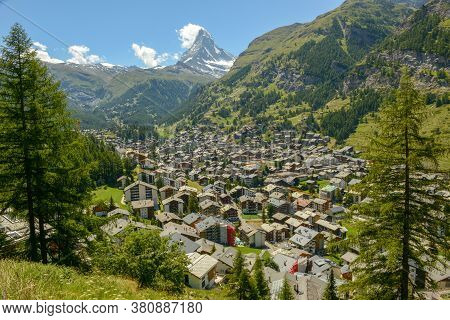 View At The Town Of Zermatt In The Swiss Alps