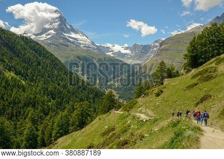 Zermatt, Switzerland - 19 July 2020: Landscape With Mount Matterhorn Over Zermatt On The Swiss Alps