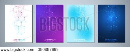 Set Of Template Brochure Or Cover Book, Page Layout, Flyer Design With Molecular Structures Backgrou