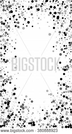 Scattered Dense Balck Dots. Dark Points Dispersion On White Background. Authentic Grey Spots Dispers