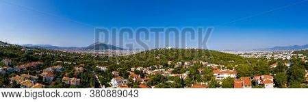 Athens Greece Panorama. Aerial View Of Athens City From Penteli Mount, Sunny Summer Day.