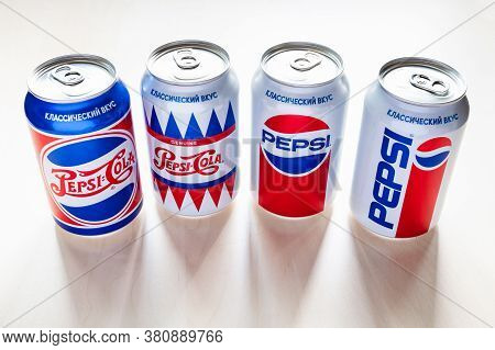 Moscow, Russia - August 6, 2020: Cans Of Pepsi With Design From The 40s, 50s, 80s And 90s Of The 20t