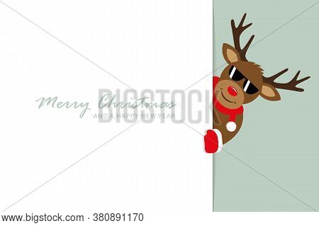 Cute Reindeer With Sunglasses Looks Around The Corner Funny Christmas Design Vector Illustration Eps