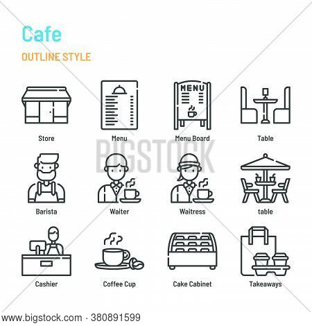 Cafe And Restaurant In Outline Icon And Symbol Set