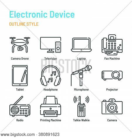 Electronic Device In Outline Icon And Symbol Set