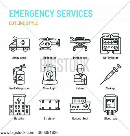 Emergency Services In Outline Icon And Symbol Set