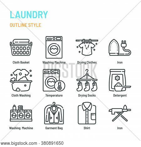 Laundry In Outline Icon And Symbol Set