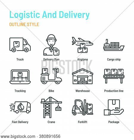 Logistic And Delivery In Outline Icon And Symbol Set