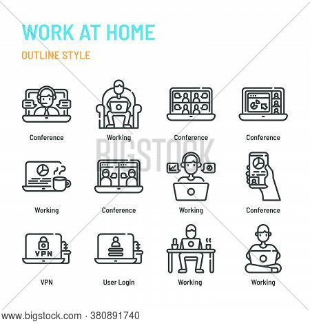 Work At Home In Outline Icon And Symbol Set
