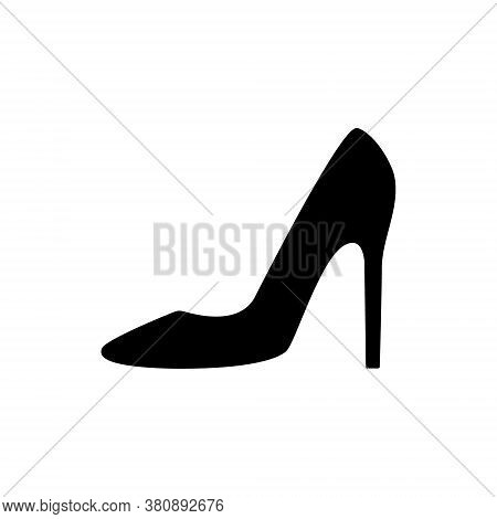 Women Shoes Icon. Women High-heeled Shoes Outline Vector Illustration Isolated On White.