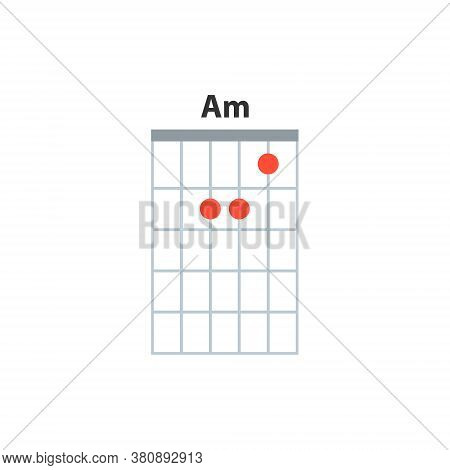 Am Guitar Chord Icon. Basic Guitar Chords Vector Isolated On White. Guitar Lesson Illustration.