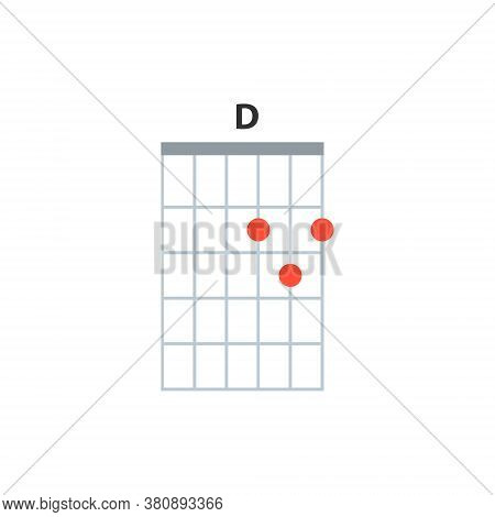D Guitar Chord Icon. Basic Guitar Chords Vector Isolated On White. Guitar Lesson Illustration.