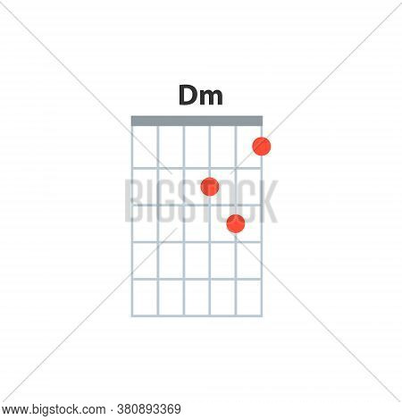 Dm Guitar Chord Icon. Basic Guitar Chords Vector Isolated On White. Guitar Lesson Illustration.