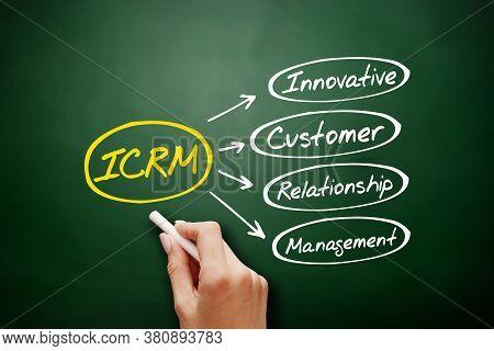 Icrm - Innovative Customer Relationship Management Acronym, Business Concept Background On Blackboar