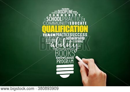 Qualification Light Bulb Word Cloud, Education Business Concept Background On Blackboard