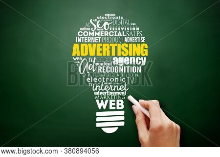 Advertising Light Bulb Word Cloud, Creative Business Concept Background On Backgroud
