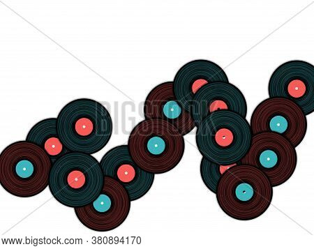 Vinyl Records Vector Musical Background. Cool Music Symbols, Vintage Style Vinyl Records Vector Illu