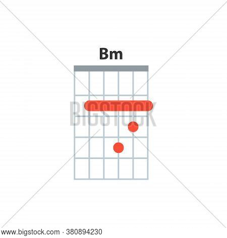 Bm Guitar Chord Icon. Basic Guitar Chords Vector Isolated On White.