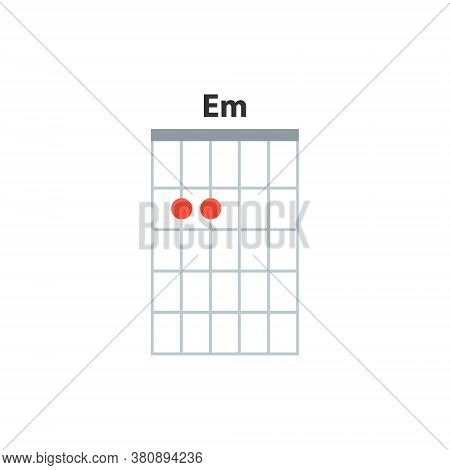 Em Guitar Chord Icon. Basic Guitar Chords Vector Isolated On White. Guitar Lesson Illustration.