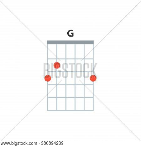 G Guitar Chord Icon. Basic Guitar Chords Vector Isolated On White. Guitar Lesson Illustration.