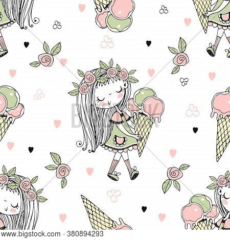 Seamless Pattern With A Cute Little Girl With Ice Cream In A Waffle Cup. Vector
