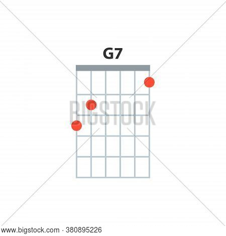 G7 Guitar Chord Icon. Basic Guitar Chords Vector Isolated On White. Guitar Lesson Illustration.