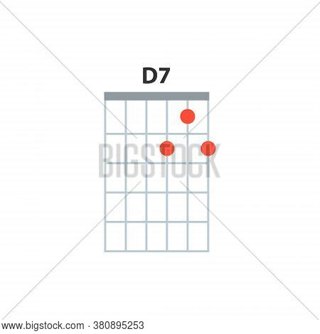 D7 Guitar Chord Icon. Basic Guitar Chords Vector Isolated On White. Guitar Lesson Illustration.