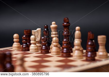 Chess, Different Chess Pieces At Random. The Concept Of A Multinational Working Group, Multi-ethnic,