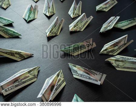 Paper Planes Made Of Dollar Bills, Usd Cash Flow Concept. Global Financial Crisis, Debt On Loans, Co