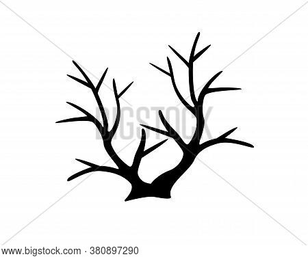 Bush - Black Vector Silhouette For Pictogram Or Logo. Autumn Dry Bush Without Leaves - Sign Or Icon.