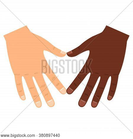 White And Black Hands In Heart Shape Illustration. Interracial Friendship Sign Vector. Diverse Human
