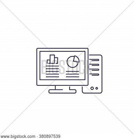 Workstation Computer Line Icon On White, Eps 10 File, Easy To Edit